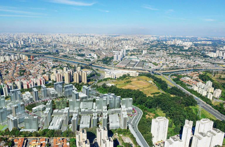 Simulação de vista aérea de condomínio com 48 torres