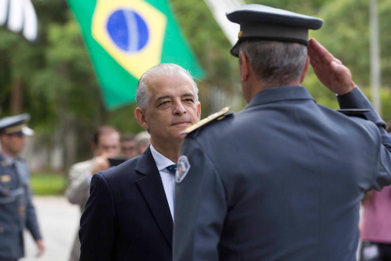 O governador Marcio França e o comandante geral da PM coronel Vieira Salles