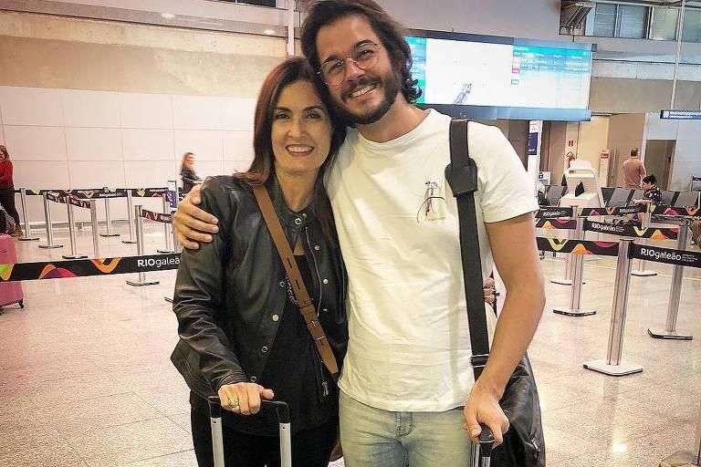 Fátima Bernardes e Túlio Gadêlha no Aeroporto Internacional do Rio de Janeiro
