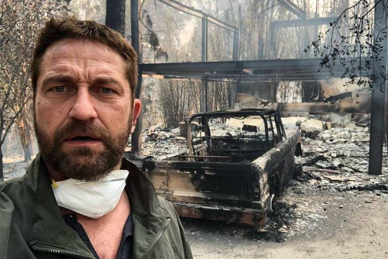 Gerard Butler mostra como a sua casa ficou destruída com incêndio