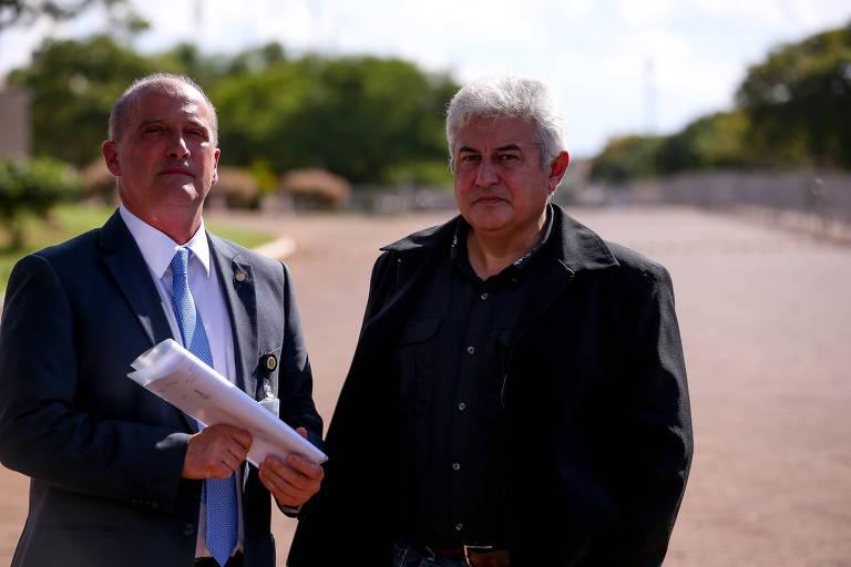 A partir da esq.: os futuros ministros Onyx Lorenzoni (Casa Civil) e Marcos Pontes (Ciência e Tecnologia)