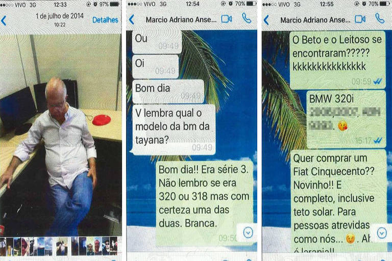 Mensagens trocadas via whatsapp entre Meire Poza, ex-contadora de Alberto Youssef, e o delegado da Lava a Jato Márcio Anselmo