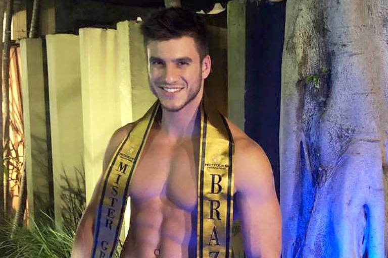Bruno Poczinek, policial e Mister Brasil, no concurso do Mister Grand International