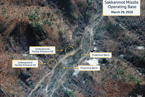 A Digital Globe satellite image taken on March 29, 2018 shows what the Washington, D.C.-based Center for Strategic and International Studies (CSIS) Beyond Parallel project reports is an undeclared missile operating base at Sakkanmol, North Korea and provided to Reuters on November 12, 2018.  CSIS/Beyond Parallel/DigitalGlobe 2018/Handout via REUTERS.  ATTENTION EDITORS - THIS IMAGE WAS PROVIDED BY A THIRD PARTY. MANDATORY CREDIT. NO ARCHIVES. NO RESALES. ORG XMIT: TOR508