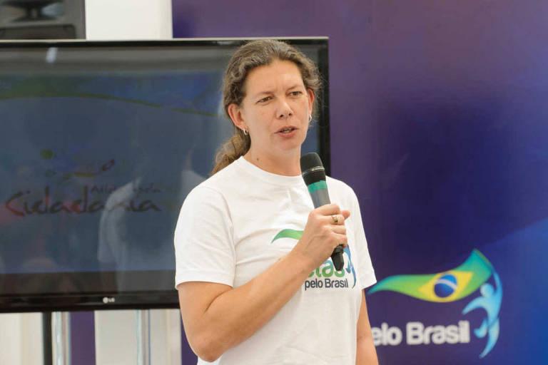 Ana Moser, então presidente da Atletas pelo Brasil, em evento da entidade em 2015