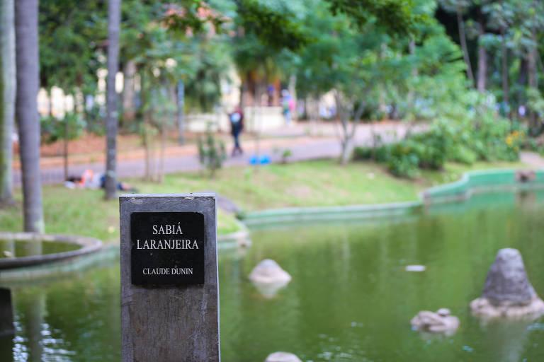 Pedestal onde deveria haver uma escultura de um sabiá, com um lago ao fundo