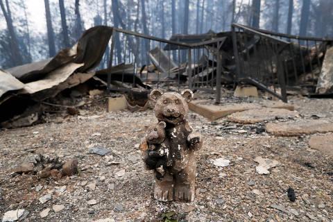 (181114) -- PARADISE, Nov. 14, 2018 (Xinhua) -- A destroyed toy is seen among debris after the wildfire in Paradise, California, the United States, on Nov. 13, 2018. The death toll from the raging Camp Fire in the U.S. state of California has increased to 48 as rescuers continue to search for missing residents in and around the town of Paradise, local authorities said Tuesday. (Xinhua/Li Ying) (hy)