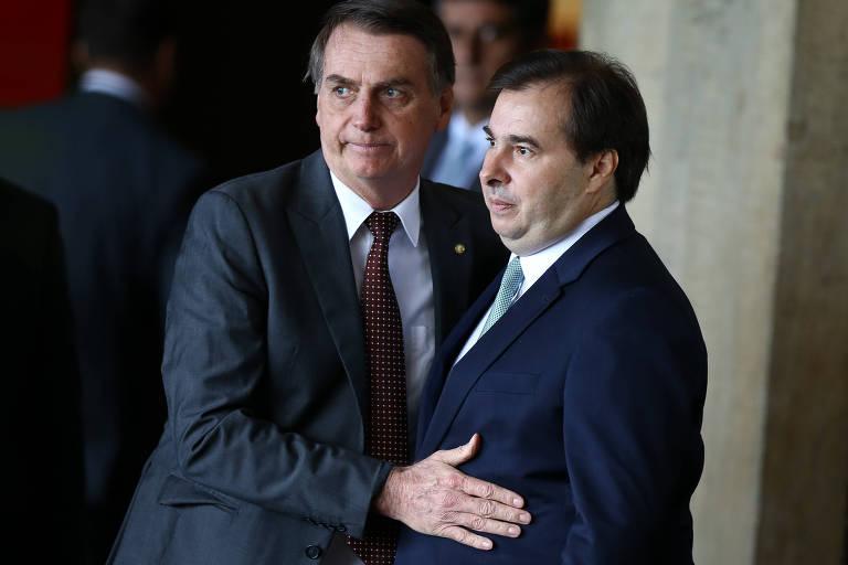 O presidente eleito Jair Bolsonaro (PSL) com o presidente da câmara dos deputados Rodrigo Maia (DEM-RJ)