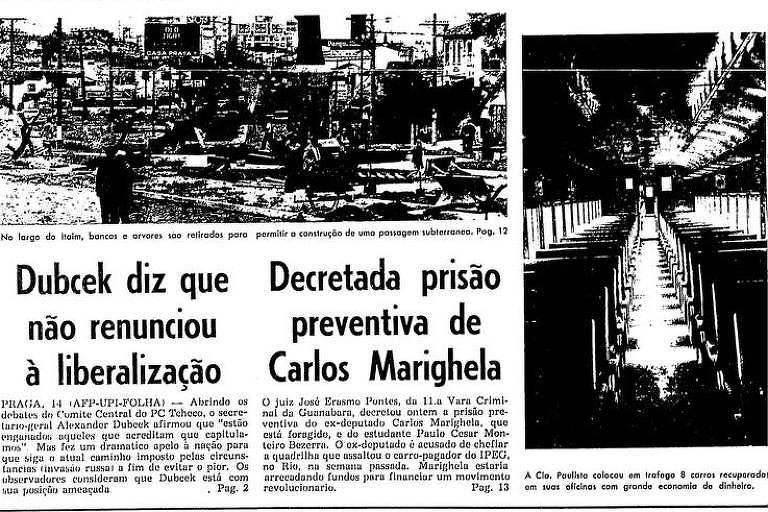 Primeira Página da Folha de 15 de novembro de 1968