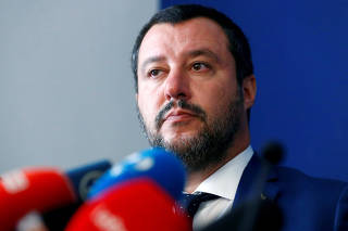FILE PHOTO: Italy's far right leader and Interior Minister Matteo Salvini attends a a news conference with French far right leader Marine Le Pen in Rome