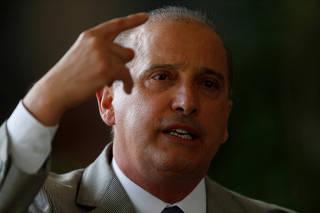 Congressman Onyx Lorenzoni, the future presidential chief of staff, talks with journalists in Brasilia