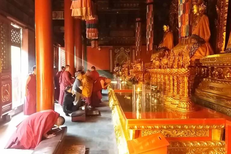 Budistas tibetanos vestidos de panos vermelhos escuros se ajoelham em frente a estátuas douradas de buda