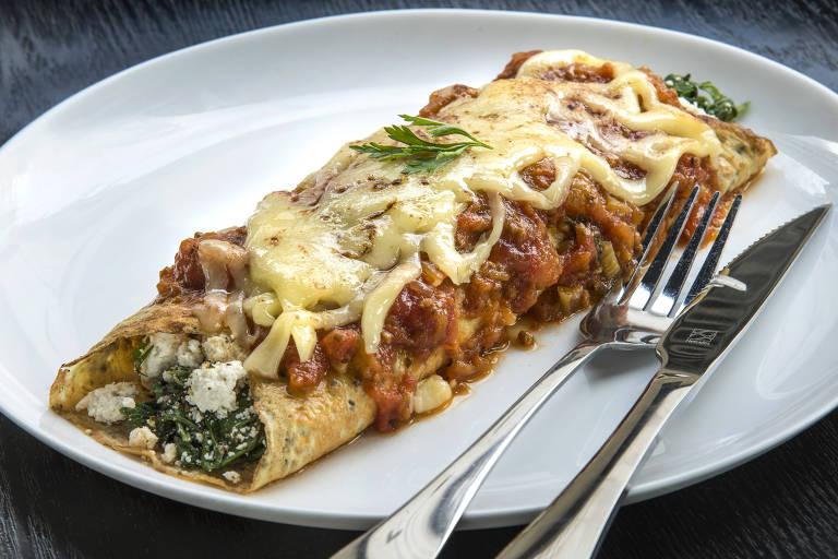 Panqueca de espinafre e ricota do Divina Panqueca que integra o festival Baixa Gastronomia Week