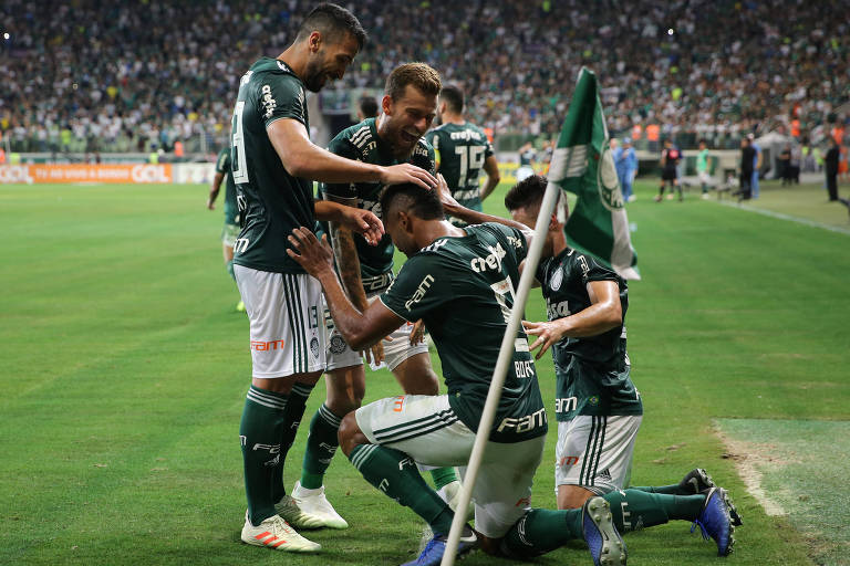 Jogadores do Palmeiras comemoram gol contra o Fluminense, pelo Campeonato Brasileiro.