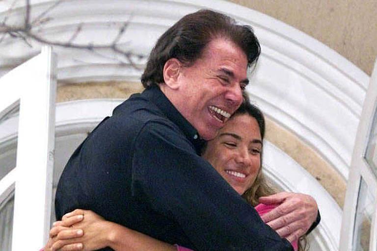 Patricia Abravanel e seu pai, o empresario de TV Silvio Santos