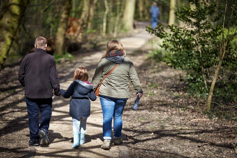 pai, mãe e filha caminham na floresta