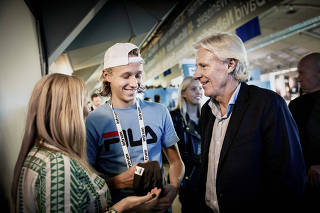 Leo Borg with his his father, Bjorn Borg, and mother, Patricia, at the Stockholm Open in Stockholm, Sweden.