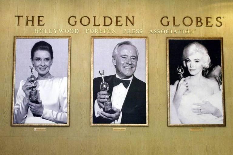 Fotografias de vencedores do Globo de Ouro - Audrey Hepburn (esquerda), Jack Lemmon (centro) e Marilyn Monroe (direita)
