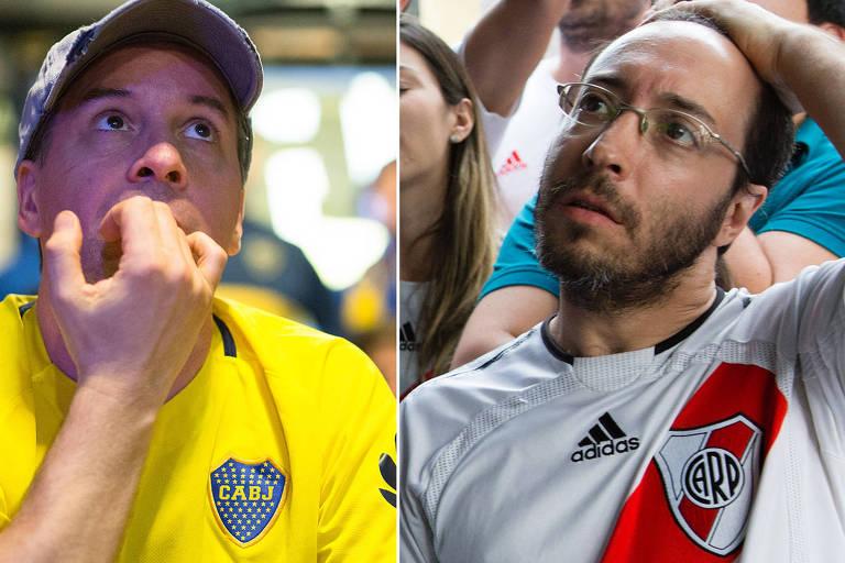 Torcedores de Boca Juniors e River Plate assistem ao primeiro jogo da final da Libertadores em bares da Vila Madalena