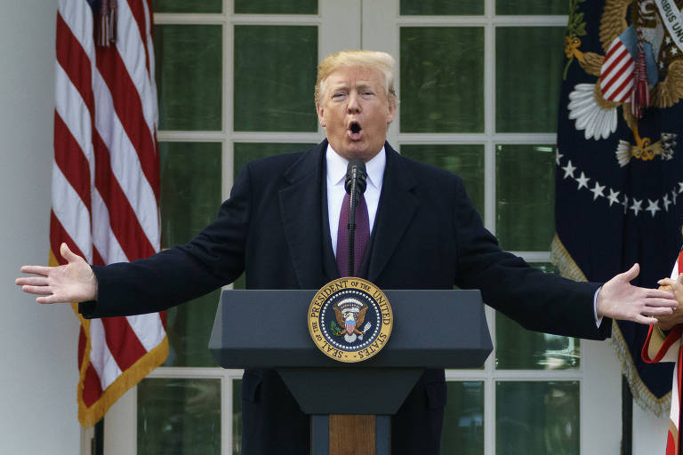 O presidente dos EUA, Donald Trump, durante evento na Casa Branca