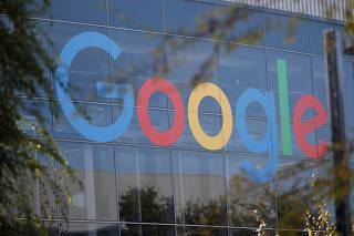FILE PHOTO: A Google sign at the company's California headquarters