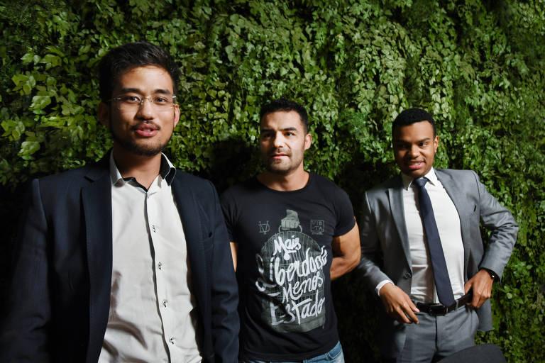 O núcleo duro do MBL é formado por Kim Kataguiri (óculos esquerda),  Arthur do Val, do canal Mamãe Falei (centro) e Fernando Holiday (direita)