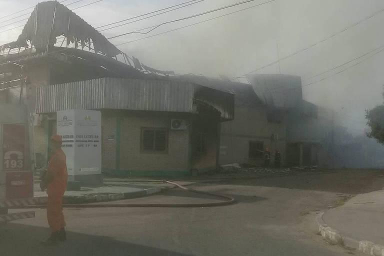 Sede do Distrito Sanitário Especial Indígena (DSEI) Leste Roraima, em Boa Vista, destruído por incêndio