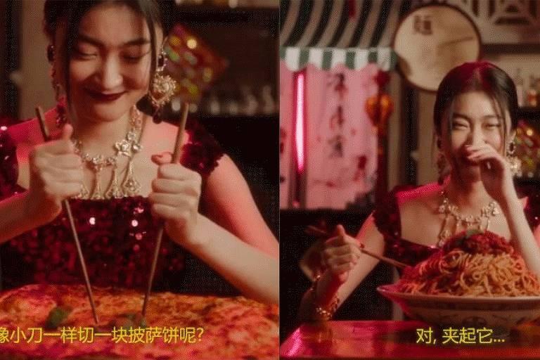 Campanha publicitária da Dolce & Gabbana com chinesa comendo massa de palitinho