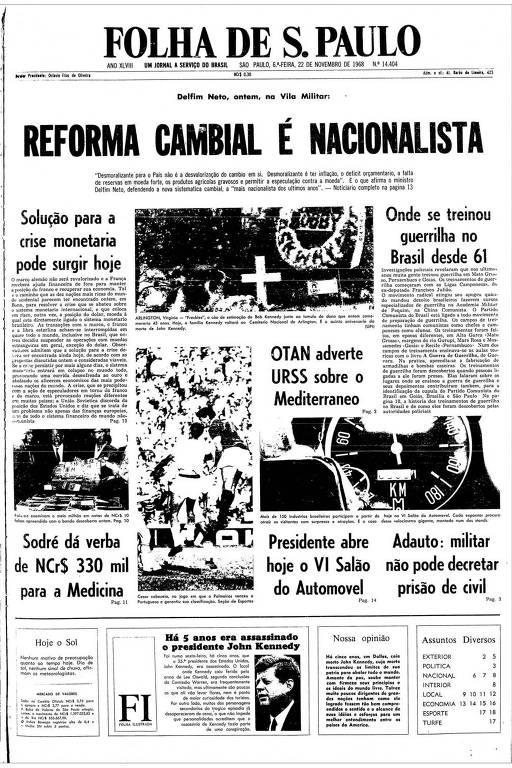 Primeira Página da Folha de 22 de novembro de 1968