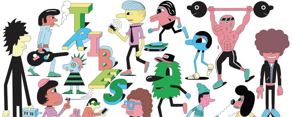 Ilustrador nova-iorquino Jeremyville ilustra visão sobre tribos urbanas para caderno de moda