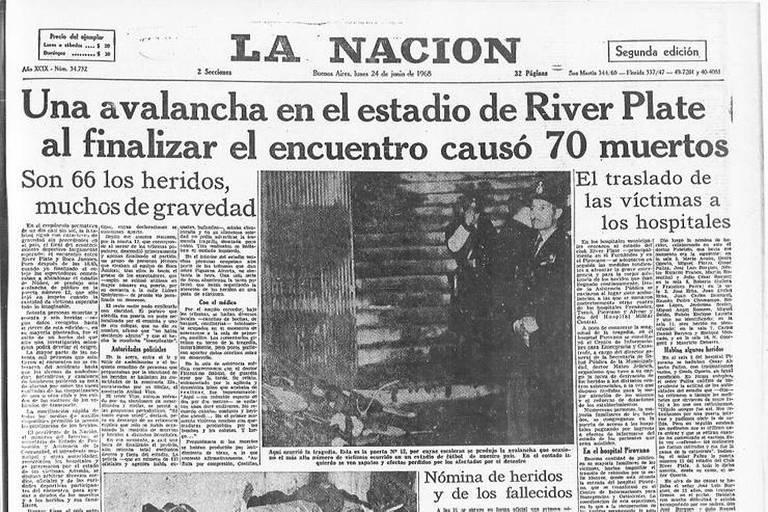 Capa do La Nación de 24 de junho de 1968, dia seguinte ao incidente no Monumental