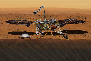 FILE PHOTO: The NASA Martian lander InSight dedicated to investigating the deep interior of Mars is seen in an undated artist's rendering