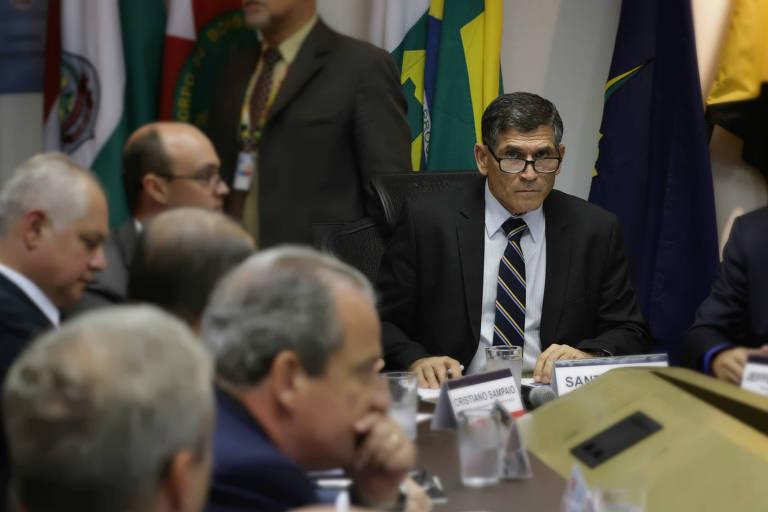 O secretário nacional de Segurança Pública, general Carlos Alberto Santos Cruz, durante reunião com secretários de Segurança Pública dos estados (Fabio Rodrigues Pozzebom/Agência Brasil)