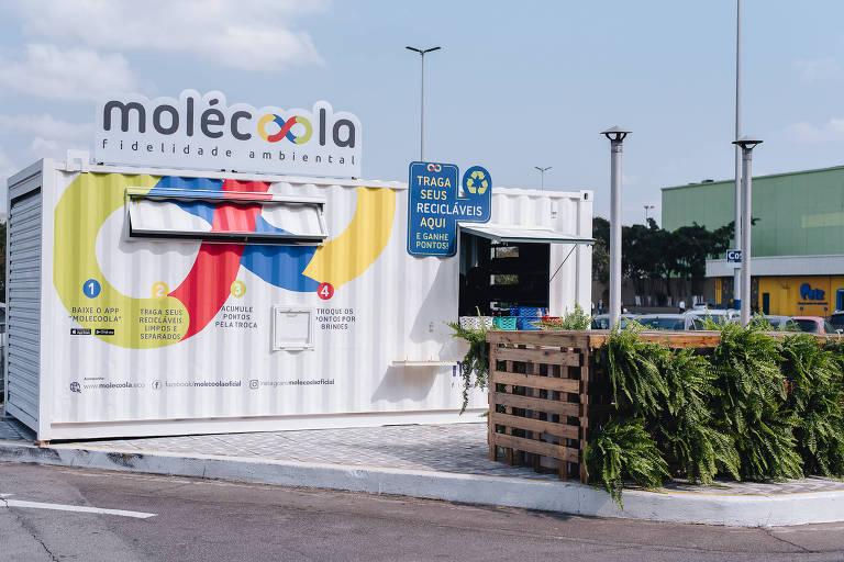 Contêiner do Molécoola, aplicativo de reciclagem com sistema de ponto