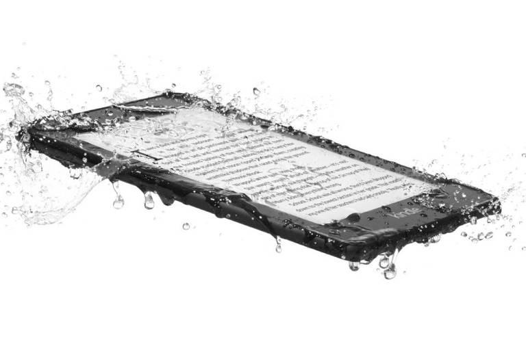 O Paperwhite, da Amazon, é um aparelho de leitura de plástico leve com uma tela de seis polegadas. A melhor novidade é sua resistência à água