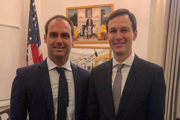 O deputado Eduardo Bolsonaro e Jared Kushner, em encontro na Casa Branca