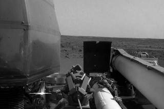 The Instrument Deployment Camera's image of the Martian surface the day the spacecraft touched down on the Red Planet