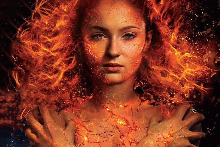 "A atriz Sophie Turner em ""X-Men -  A Fênix Negra"""