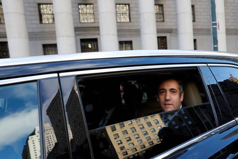 O ex-advogado de Donald Trump, Michael Cohen, após deixar a corte federal em Manhattan