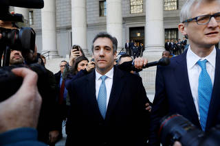 U.S. President Donald Trump's former lawyer Michael Cohen exits Federal Court after entering a guilty plea in Manhattan, New York City