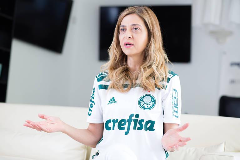 Leila Pereira concede entrevista à Folha de S. Paulo em seu escritório, em São Paulo