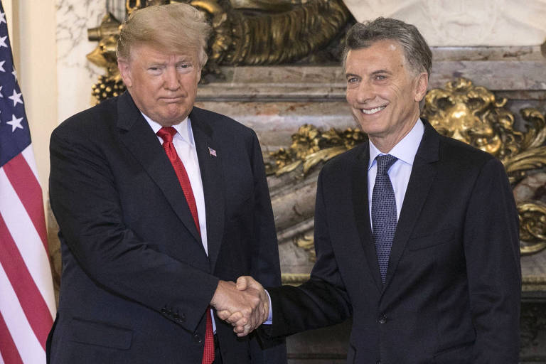 O presidente americano Donald Trump com o argentino Mauricio Macri em Buenos Aires
