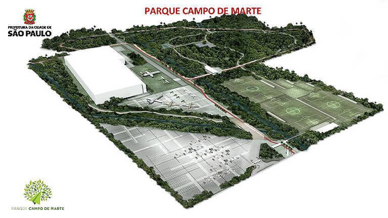Projeto da prefeitura para criação de parque no Campo de Marte