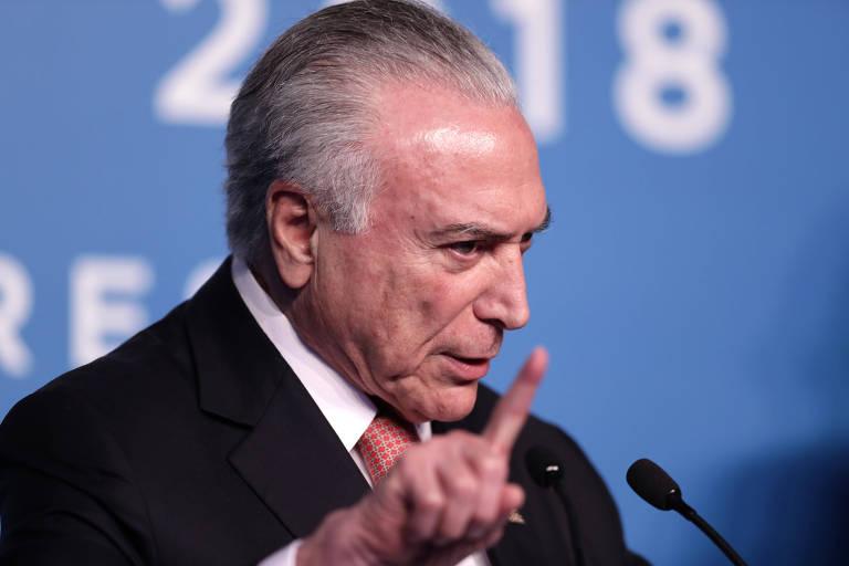 O presidente brasileiro, Michel Temer, durante entrevista coletiva do G20 em Buenos Aires