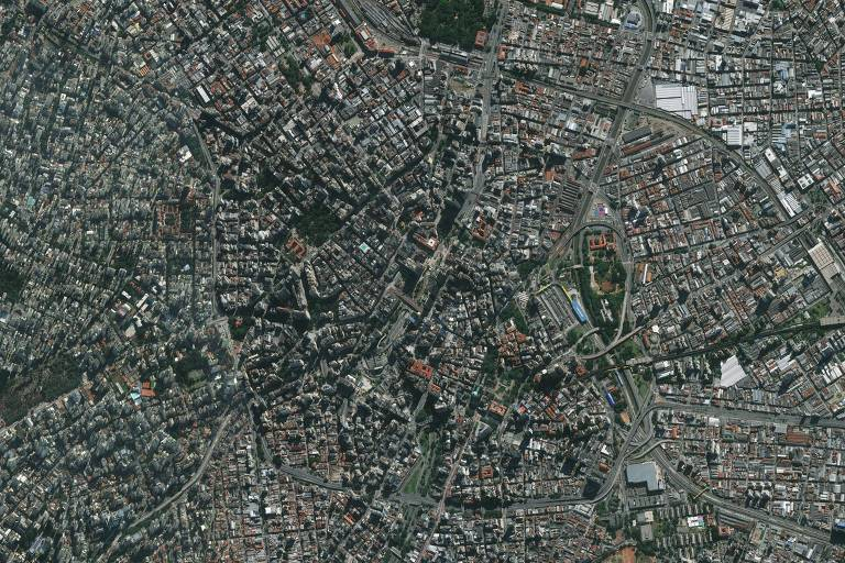 Foto de satélite da Geosampa mostra região da Sé, uma das menos arborizadas de São Paulo, segundo levantamento do Grupo ZAP