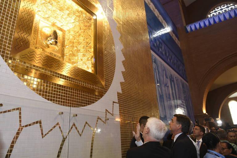 O presidente eleito, Jair Bolsonaro (PSL), durante visita ao Santuário Nacional de Aparecida