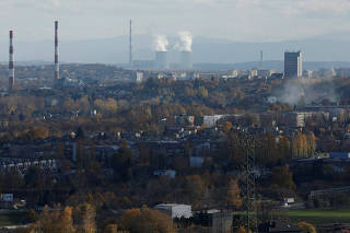 General view of the Upper Silesian Industrial Region with Jaworzno Power station is seen from Bedzin, near Katowice