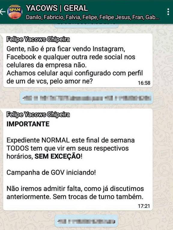 Print de tela com mensagens sobre a campanha eleitoral trocadas em grupo de WhatsApp da empresa Yacows