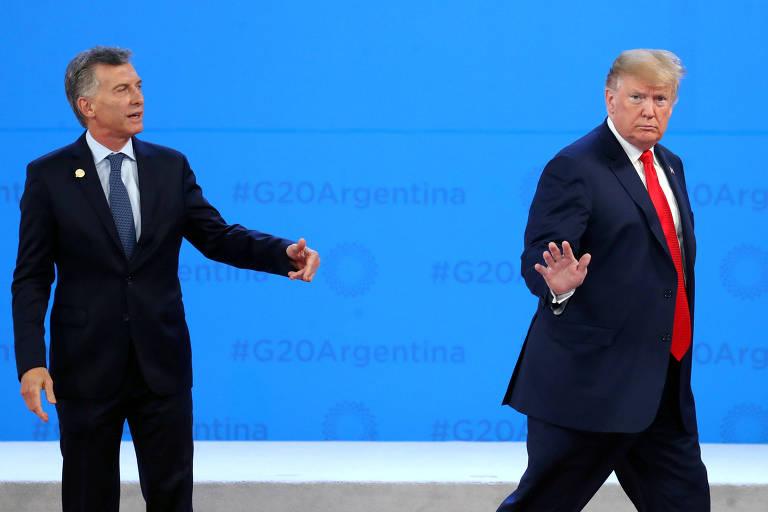 O presidente dos Estados Unidos, Donald Trump, e da Argentina, Maurício Macri, durante a cúpula do G20 em Buenos Aires
