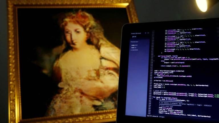 Obra 'La Comtesse de Belamy' (2018) criada pelo Generative Adversarial Network (GAN), algoritmo que aprende a gerar novas imagens  ao ser alimentado pela base de dados de pinturas